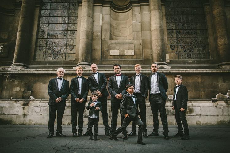 Groom Tuxedo Groomsmen Bow Tie Eclectic Asylum Wedding London Rusted Rose Photography