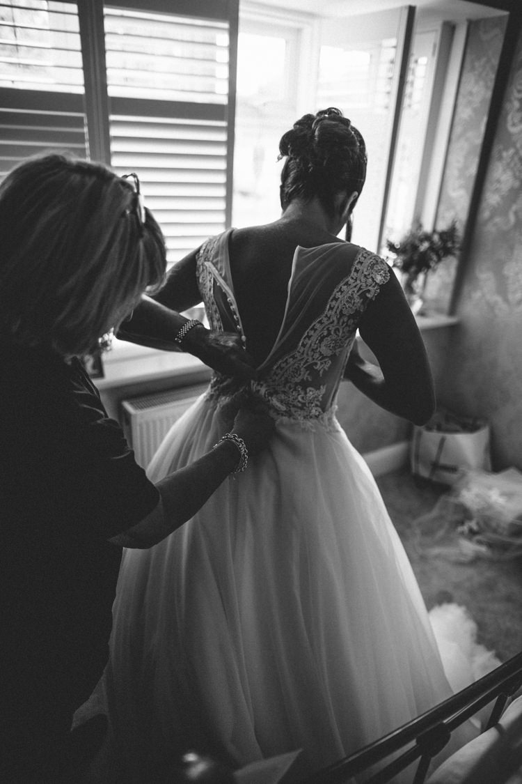 Tulle Dress Illusion Back Lace Buttons Sheer Bride Bridal Gown Eclectic Asylum Wedding London Rusted Rose Photography
