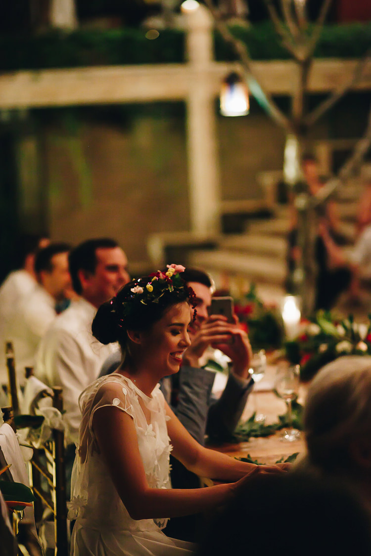 Outdoor Destination Luxury Adventure Ubud Colorful Tropical Flower Crown Bride Groom Dinner | Whimsical Exotic Tropical Jungle Wedding Bali http://www.cecilephotographybali.com/