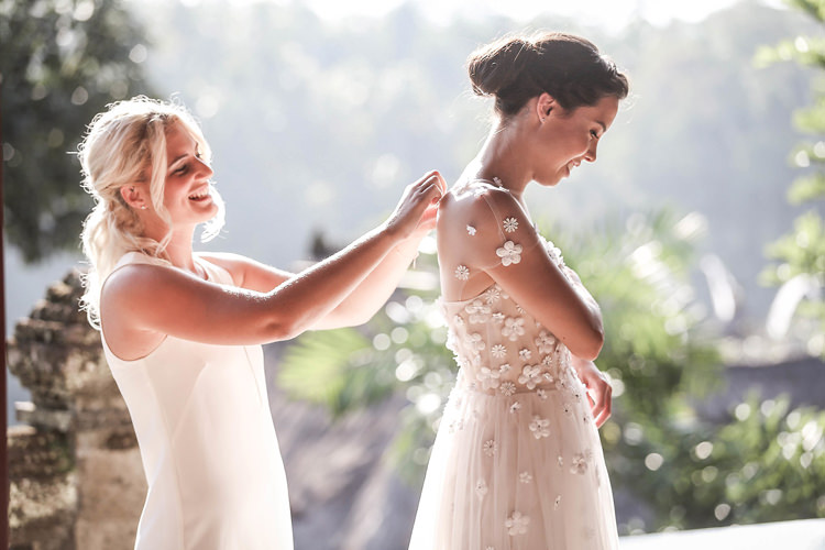 Outdoor Destination Luxury Adventure Ubud Bride Floral Dress Bridesmaid | Whimsical Exotic Tropical Jungle Wedding Bali http://www.cecilephotographybali.com/