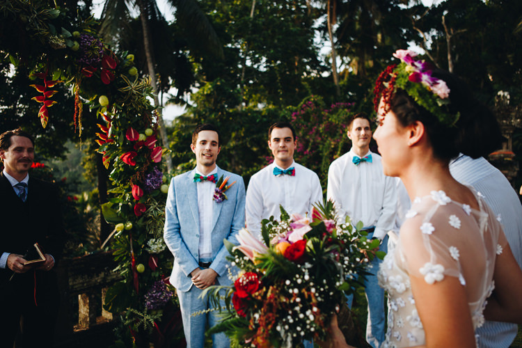 Outdoor Destination Luxury Adventure Ubud Ceremony Bride Colorful Flower Crown Tropical Bouquet Floral Arch | Whimsical Exotic Tropical Jungle Wedding Bali http://www.cecilephotographybali.com/