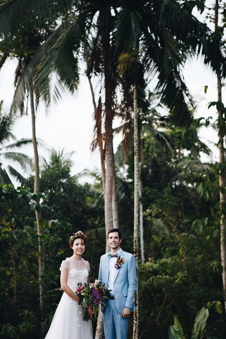 Outdoor Destination Luxury Adventure Ubud Ceremony Colorful Tropical Bouquet Flower Crown Bride Groom | Whimsical Exotic Tropical Jungle Wedding Bali http://www.cecilephotographybali.com/