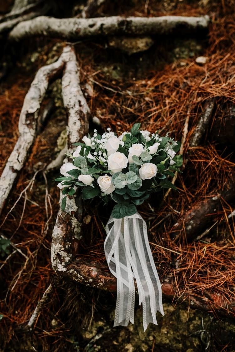 Spain Sun Outdoor Tropical Mediterranean Garden Villa Bride Bouquet White Green Ribbon | Ibiza Destination Wedding Amy Faith Photography