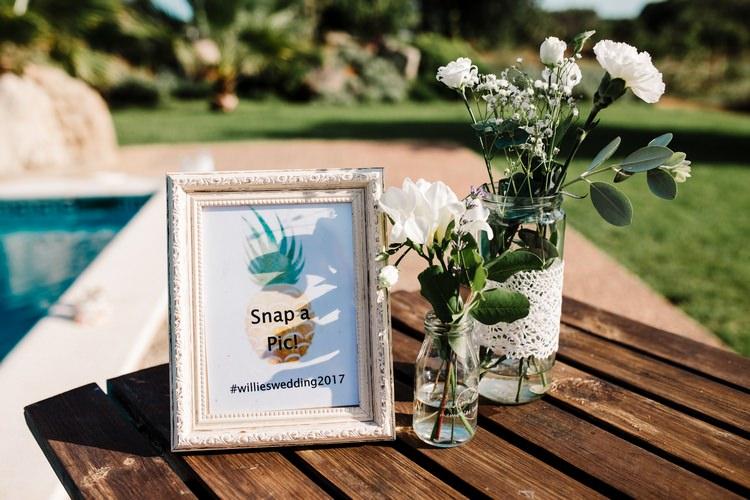 Spain Sun Outdoor Tropical Mediterranean Garden Villa Outdoor Wedding Hashtag Sign | Ibiza Destination Wedding Amy Faith Photography