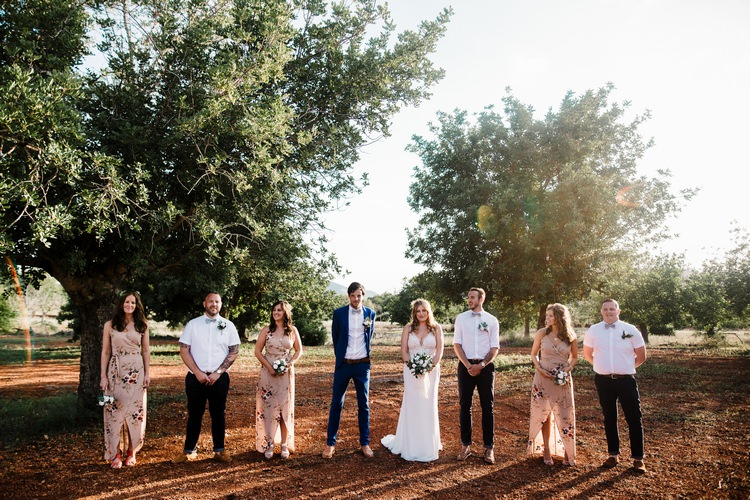 Spain Sun Outdoor Tropical Mediterranean Garden Villa Bride Bridesmaids Groom Groomsmen | Ibiza Destination Wedding Amy Faith Photography