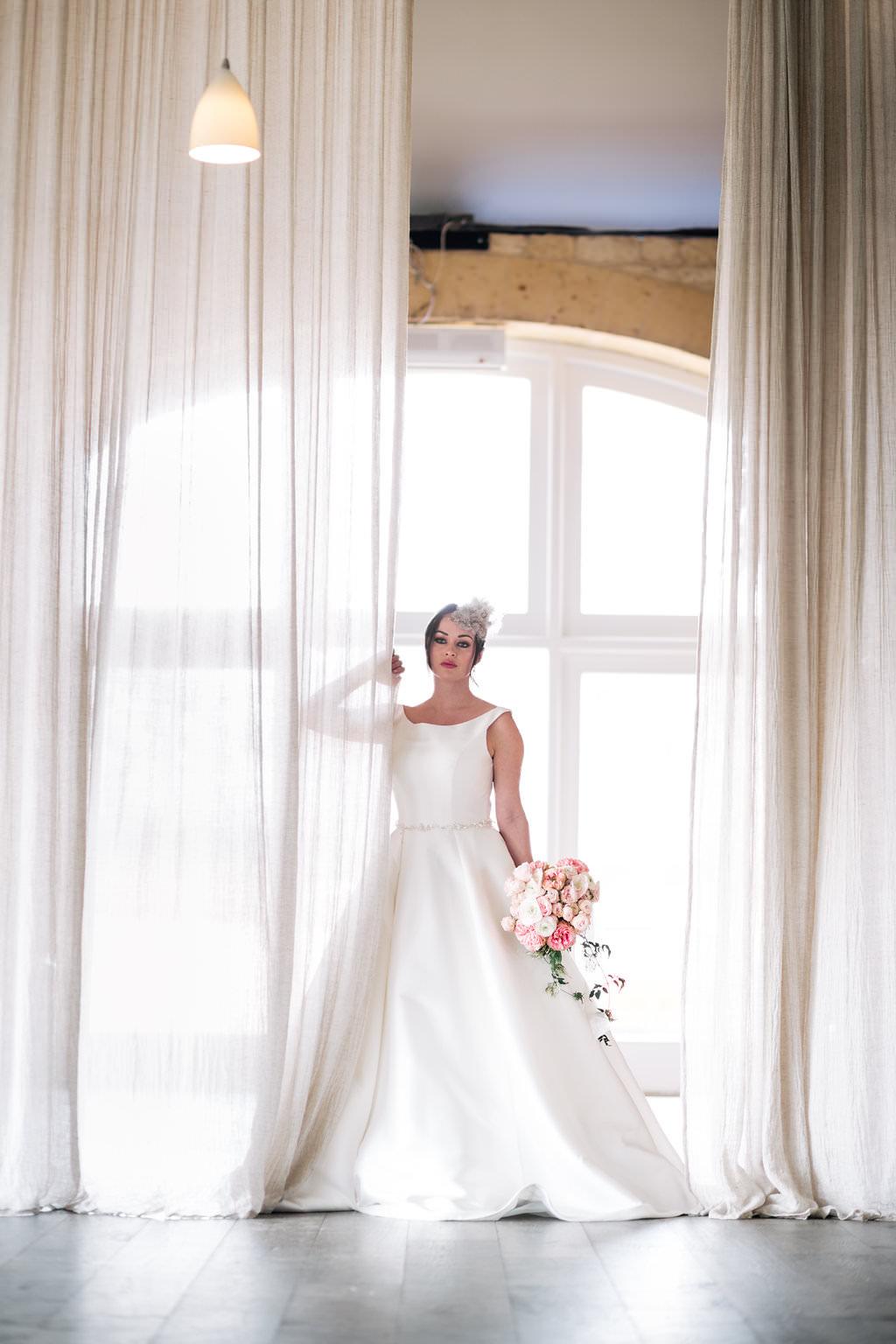 Dress Gown Bride Bridal Classic Lapstone Barn Wedding Ideas Cotswolds Katie Hamilton Photography