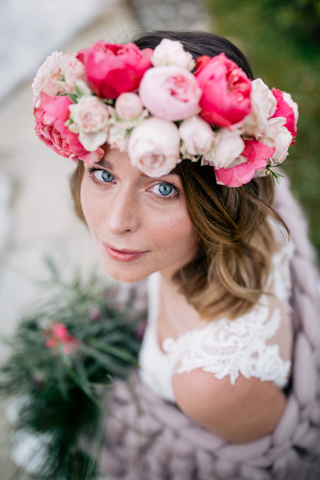 Flower Crown Bride Bridal Pink Rose Ranunculus Peony Lapstone Barn Wedding Ideas Cotswolds Katie Hamilton Photography