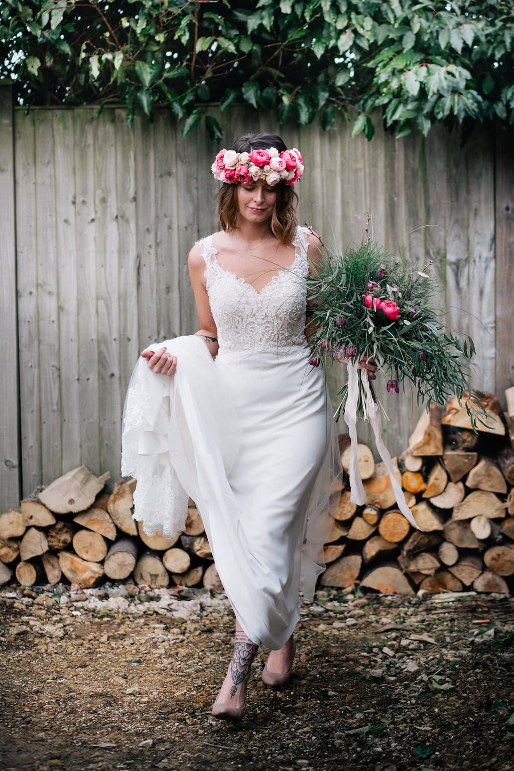 Dress Gown Bride Bridal Lace Straps Train Lapstone Barn Wedding Ideas Cotswolds Katie Hamilton Photography