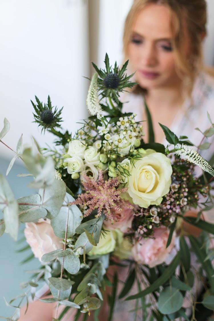 Bride Bridal Bouquet Thistle Rose Wax Flowers Eucalyptus Manor Farm Wedding Hampshire Luke Doyle Photography