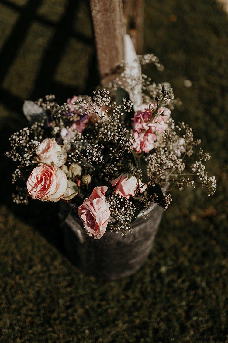 Roses Gypsophila Wooden Bucket Barrel North Hidden Barn Wedding Autumn Jen Marino Photography