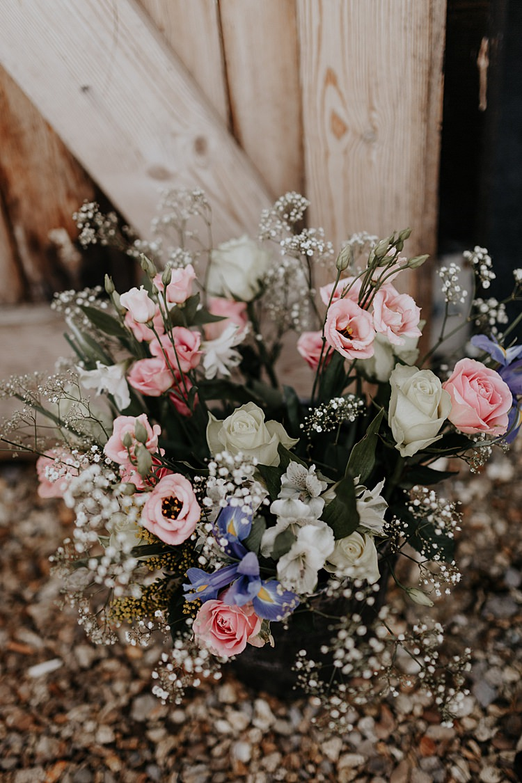 Fresias Rose Gyspophila Flowers Arrangement North Hidden Barn Wedding Autumn Jen Marino Photography