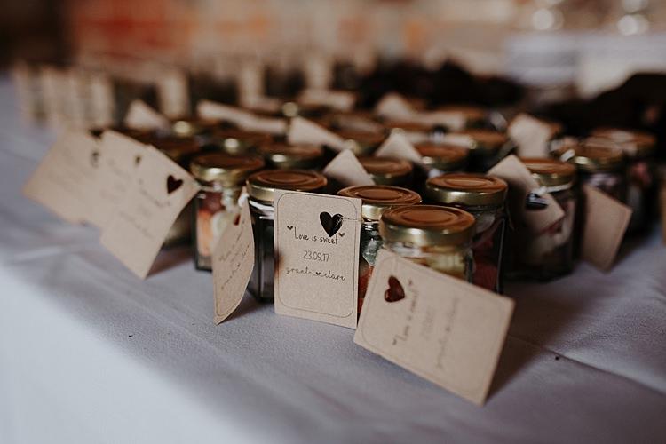 Sweet Favours Jars North Hidden Barn Wedding Autumn Jen Marino Photography