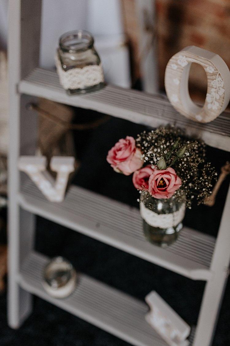Fresia Gyp Jar Flowers Ladder North Hidden Barn Wedding Autumn Jen Marino Photography
