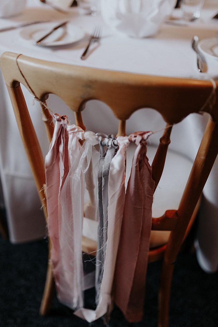 Silk Raw Ribbon Pastel Chair Decor North Hidden Barn Wedding Autumn Jen Marino Photography