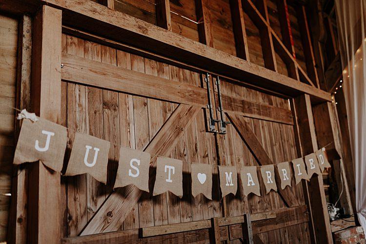 Hessian Just Married Bunting North Hidden Barn Wedding Autumn Jen Marino Photography