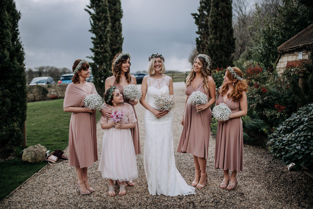 Pink Midi Multi Way Bridesmaid Dresses Notley Tythe Barn Wedding Kazooieloki Photography