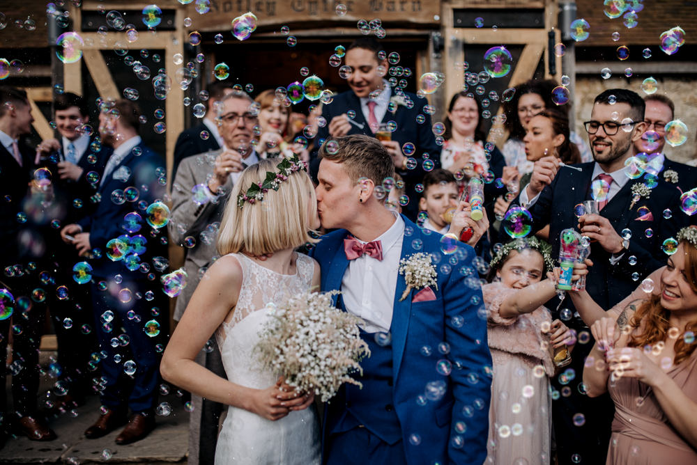 Bubble Confetti Notley Tythe Barn Wedding Kazooieloki Photography