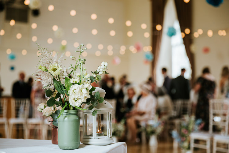 Delphiniums Roses Stocks Pink Blue White Flowers Rose Dahlia Astilbe Kilner Jar Painted Pretty Pastel Floral Village Hall Wedding Struve Photography