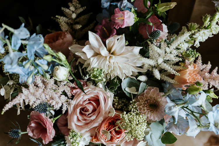 Delphiniums Roses Stocks Pink Blue White Flowers Rose Dahlia Astilbe Pretty Pastel Floral Village Hall Wedding Struve Photography