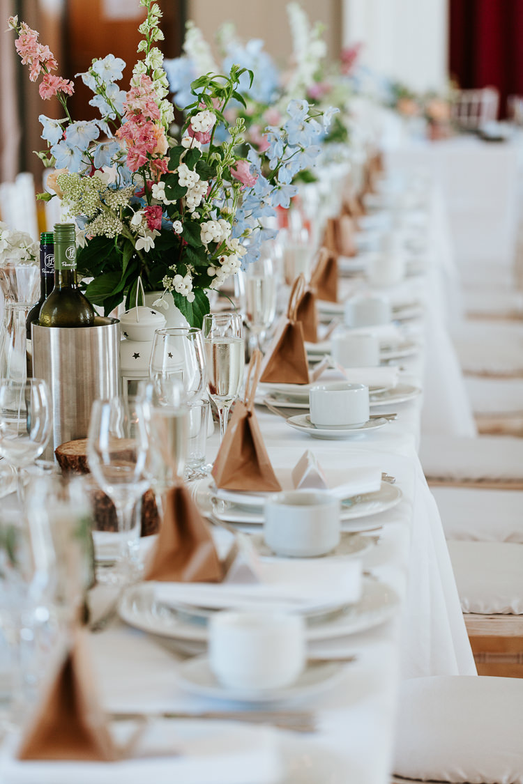 Long Tables Tall Flowers Pink Blue Pretty Pastel Floral Village Hall Wedding Struve Photography