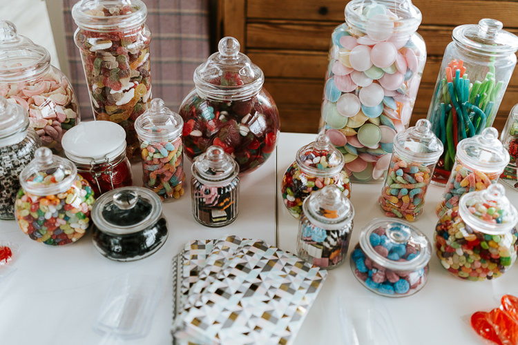 Sweets Sweetie Table Jars Pretty Pastel Floral Village Hall Wedding Struve Photography