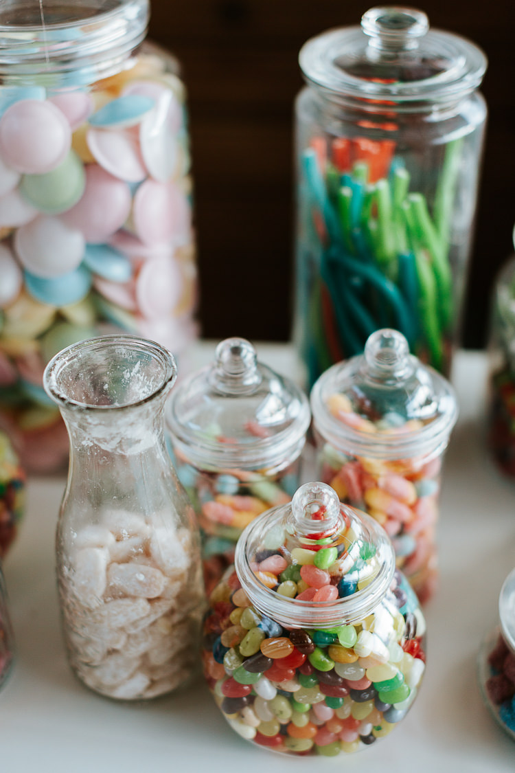 Sweets Jars Sweeties Table Bar Station Pretty Pastel Floral Village Hall Wedding Struve Photography