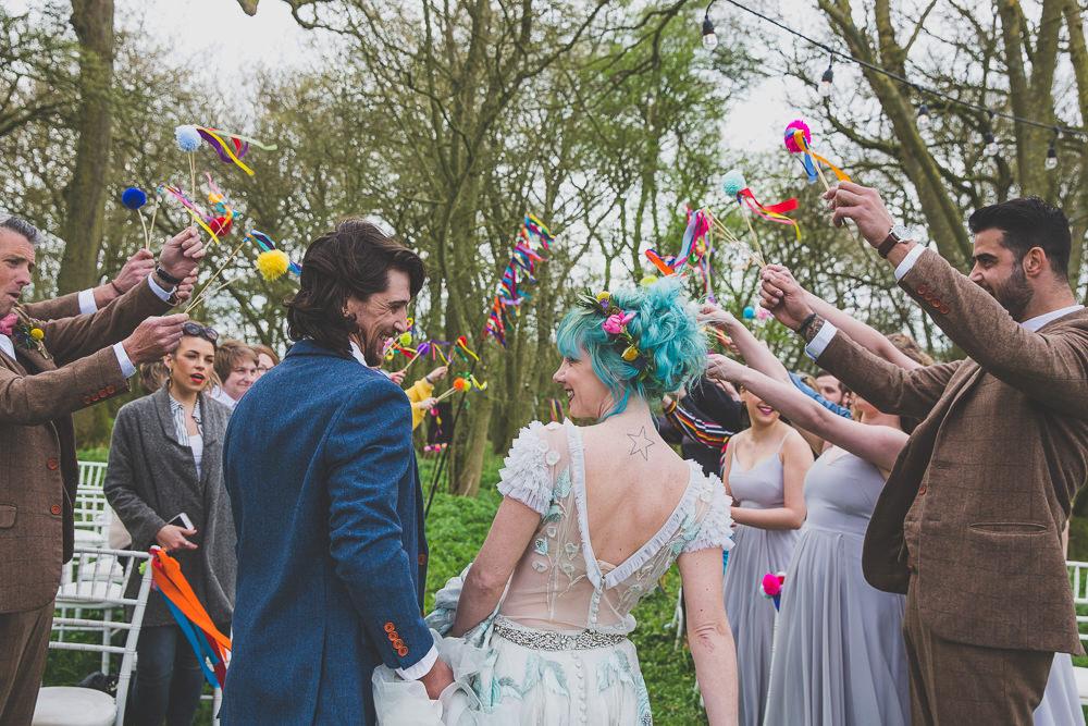 Pom Pom Wands Confetti Rainbow Alternative Woodland Wedding Ideas Nicki Shea Photography