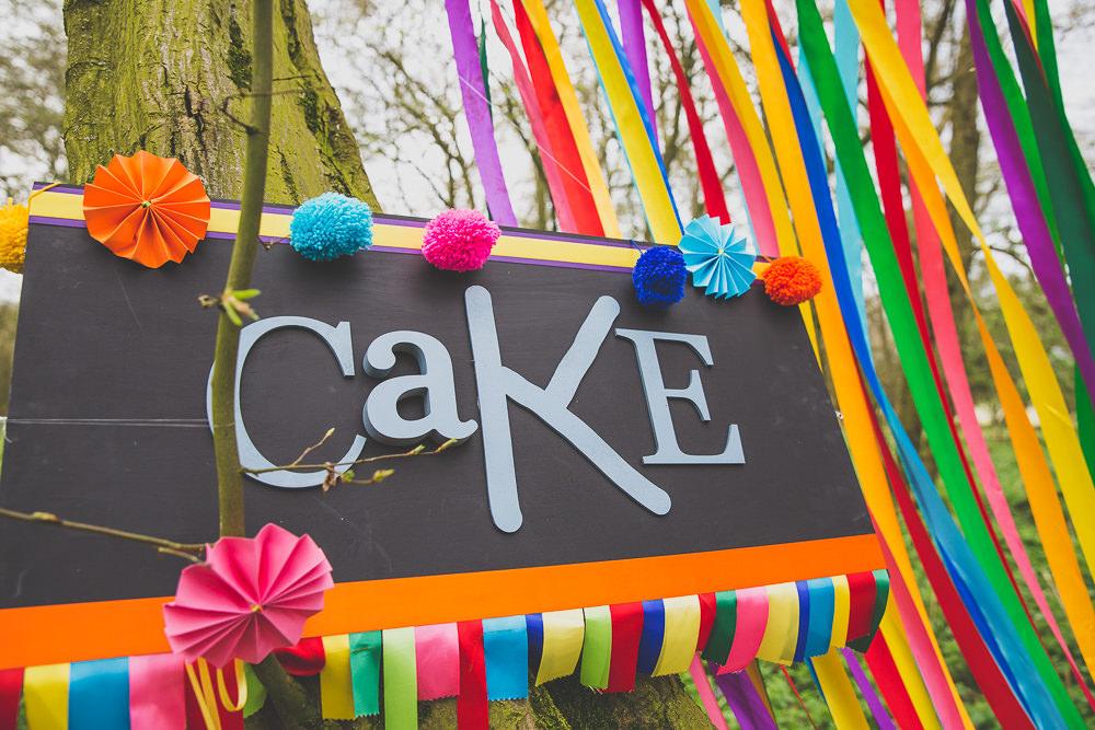 Curtain Ribbon Backdrop Pinwheels Cake Rainbow Alternative Woodland Wedding Ideas Nicki Shea Photography