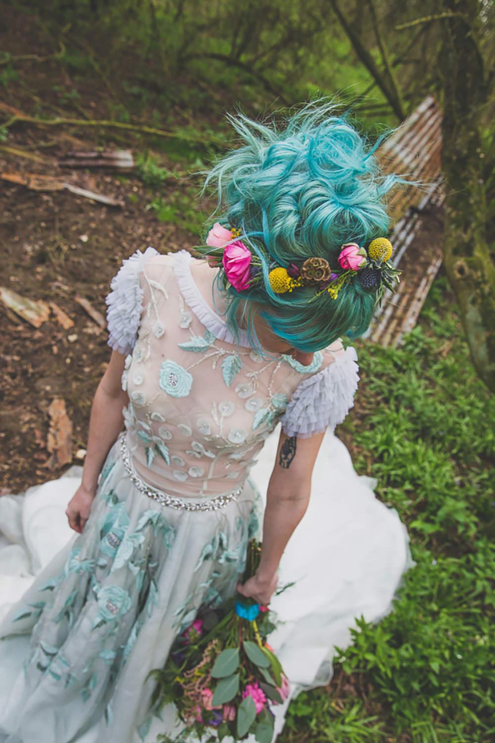 Floral Dress Gown Bride Bridal Embroidered Sheer Blue Rainbow Alternative Woodland Wedding Ideas Nicki Shea Photography