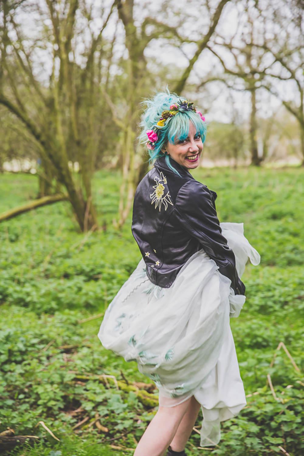 Dress Gown Bride Bridal Painted Leather Jacket Rainbow Alternative Woodland Wedding Ideas Nicki Shea Photography