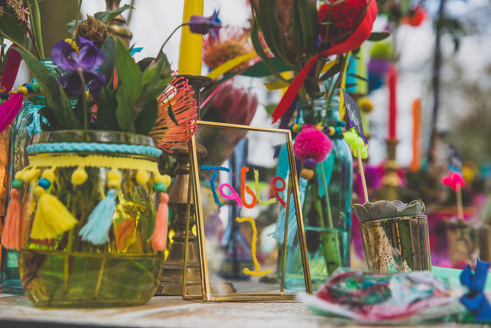 Decor Candles Flowers Table Tablescape Gold Table Name Number Rainbow Alternative Woodland Wedding Ideas Nicki Shea Photography