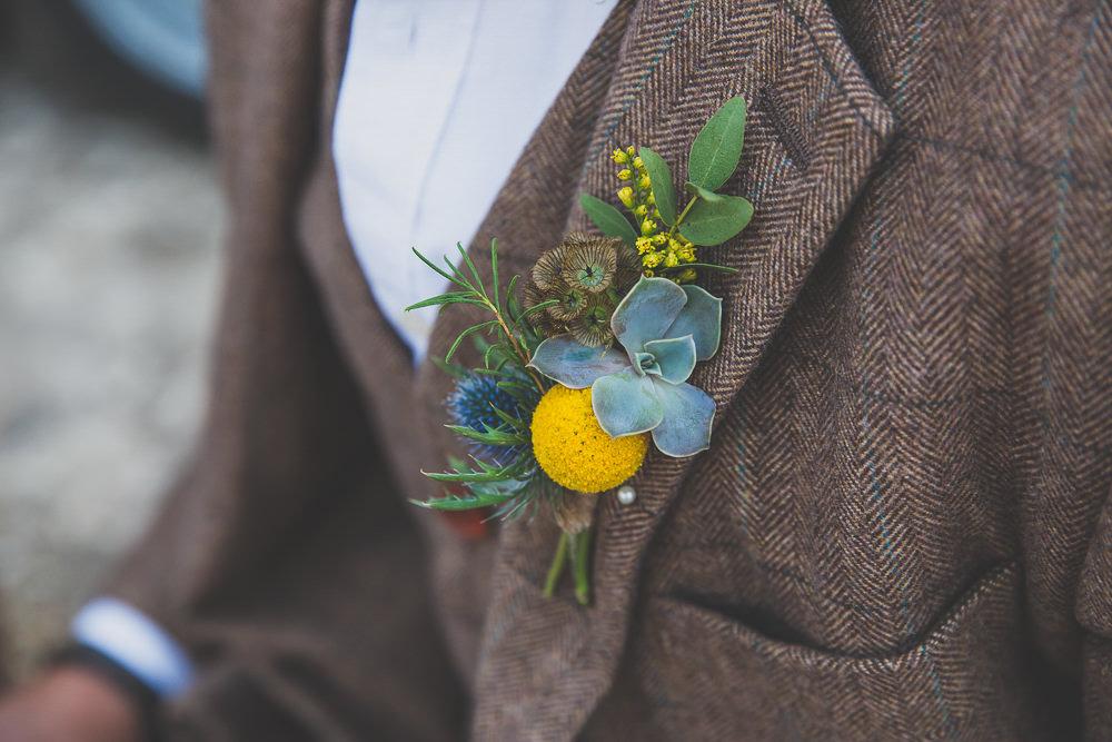 Groom Buttonhole Succulents Greenery Rainbow Alternative Woodland Wedding Ideas Nicki Shea Photography