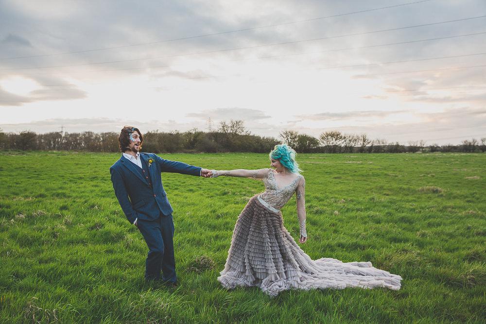 Dress Gown Bride Bridal Grey Ruffle Rainbow Alternative Woodland Wedding Ideas Nicki Shea Photography