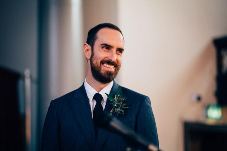 Blue Tweed Groom Reiss Round Chapel London Wedding Nikki van der Molen Photography