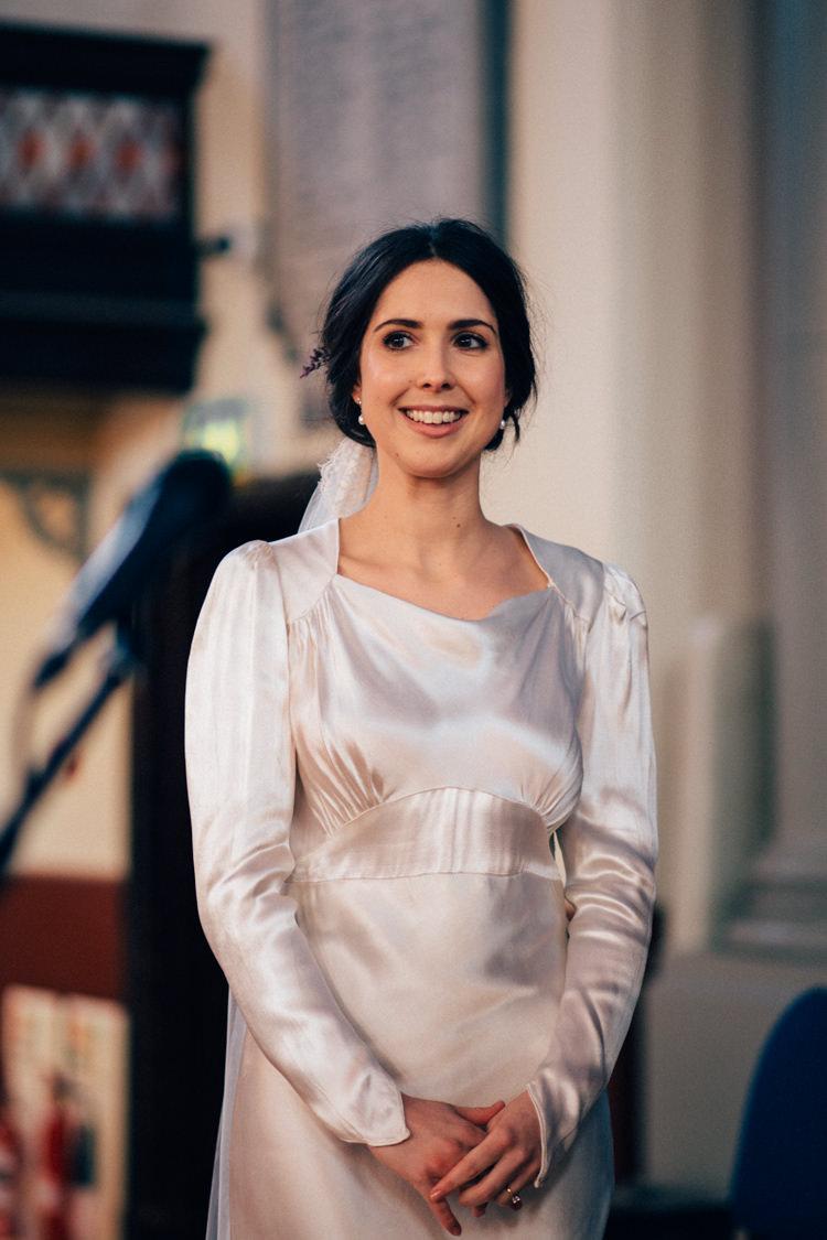 Bride Bridal Dress Gown Vintage Silk 1940s Veil Round Chapel London Wedding Nikki van der Molen Photography