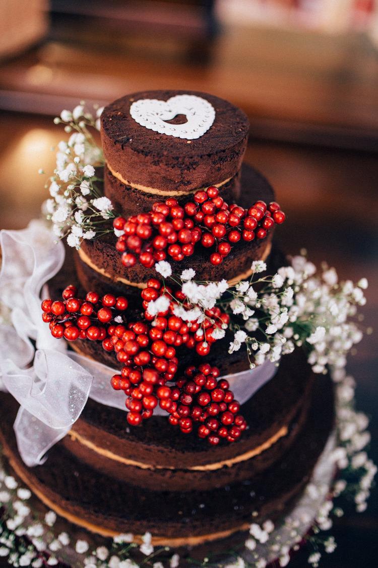 Naked Chocolate Cake Berries Gypsophila Round Chapel London Wedding Nikki van der Molen Photography