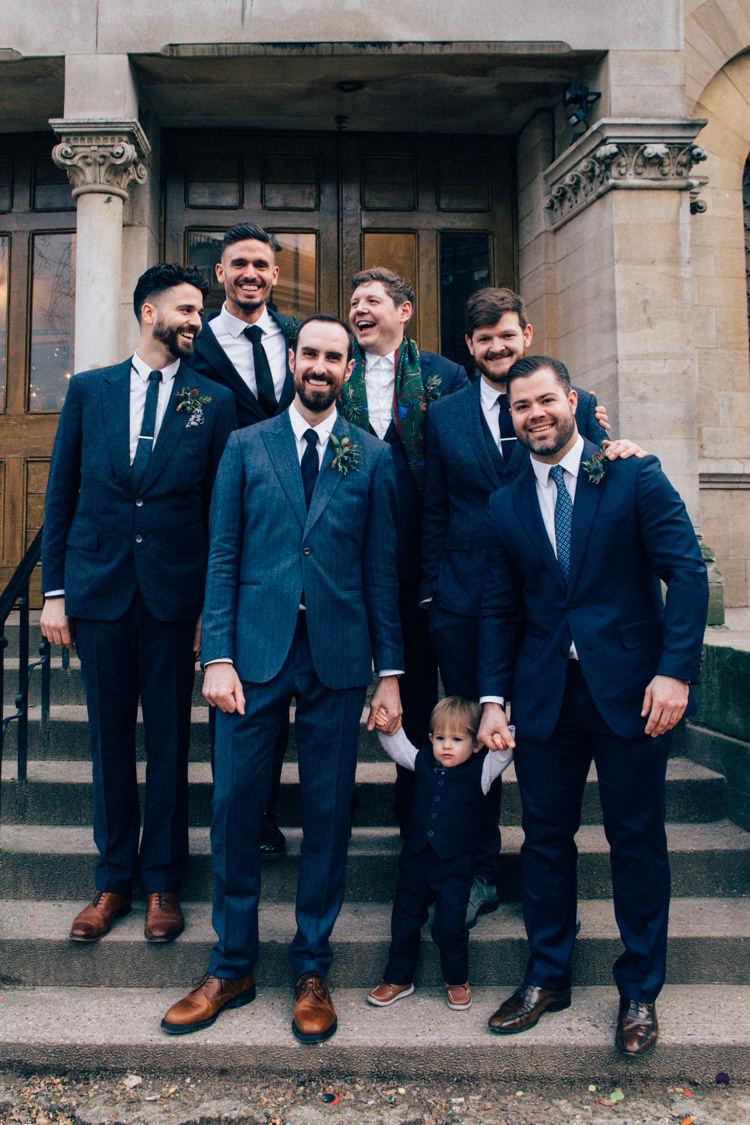 Groom Groomsmen Blue Tweed Suit Reiss Round Chapel London Wedding Nikki van der Molen Photography