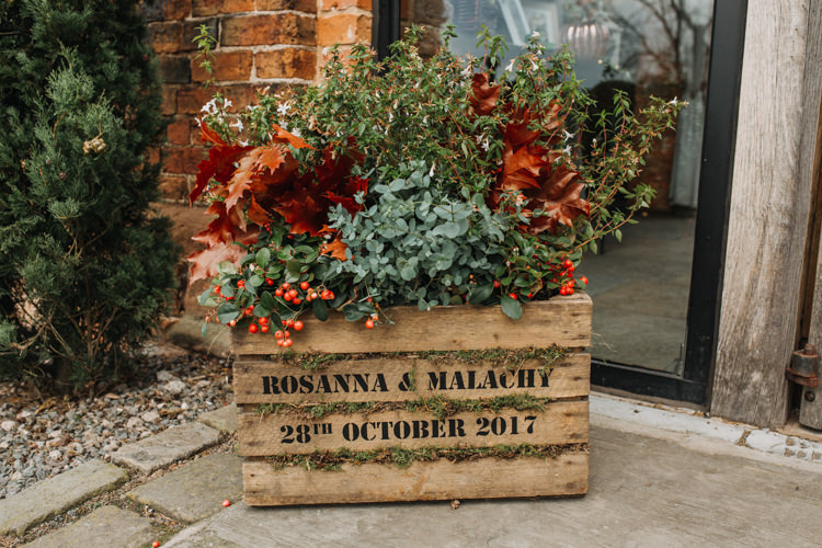 Personalised Wooden Crate Date Autumn Foliage Leaves Shustoke Farm Barns Wedding Ellie Grace Photography