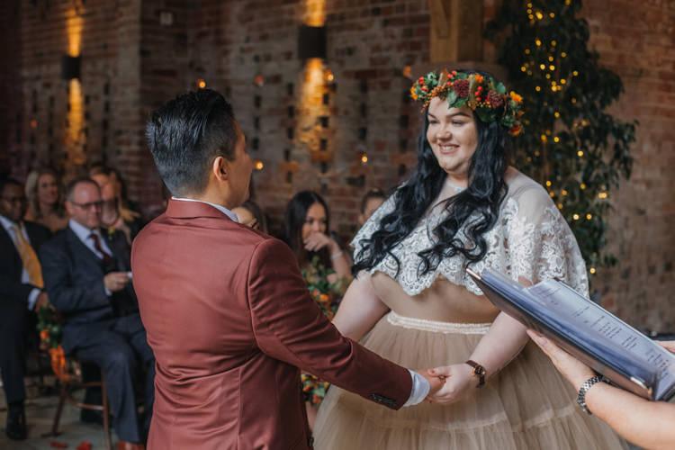 Bride Bridal Separates Lace Shawl Tulle Skirt Burgundy Suit Bow Tie Autumn Shustoke Farm Barns Wedding Ellie Grace Photography