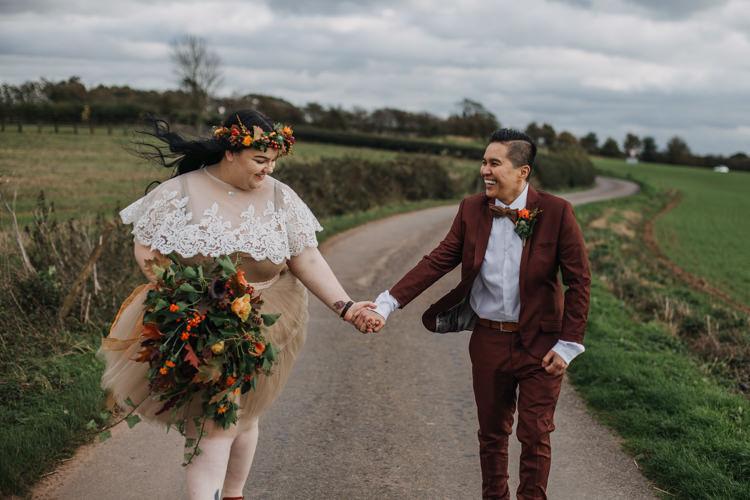 Bouquet Bride Bridal Separates Lace Shawl Tulle Skirt Burgundy Suit Bow Tie Dr Martens Autumn Shustoke Farm Barns Wedding Ellie Grace Photography