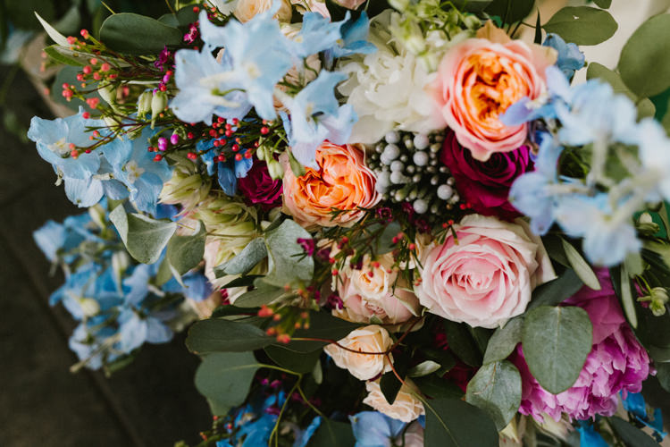 Flowers Bouquet Pink Blue Delphiniums Rose Eucalyptus Bride Bridal Larchfield Estate Wedding Honey and the Moon Photography