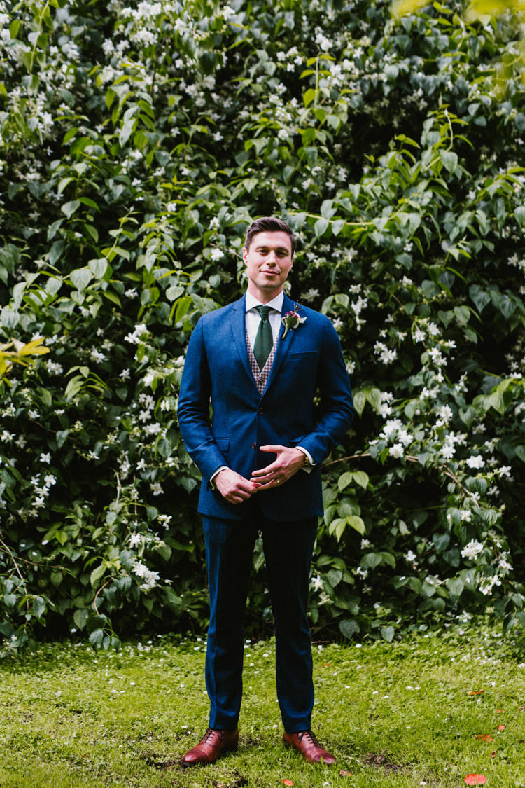 Groom Blue Suit Tan Shoes Green Tie Waistcoat Larchfield Estate Wedding Honey and the Moon Photography