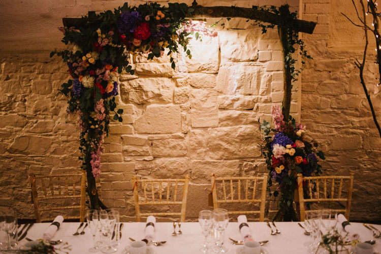 Flowers Pink Blue Hydrangea Rose Eucalyptus Arch Top Table Branch Backrop Larchfield Estate Wedding Honey and the Moon Photography