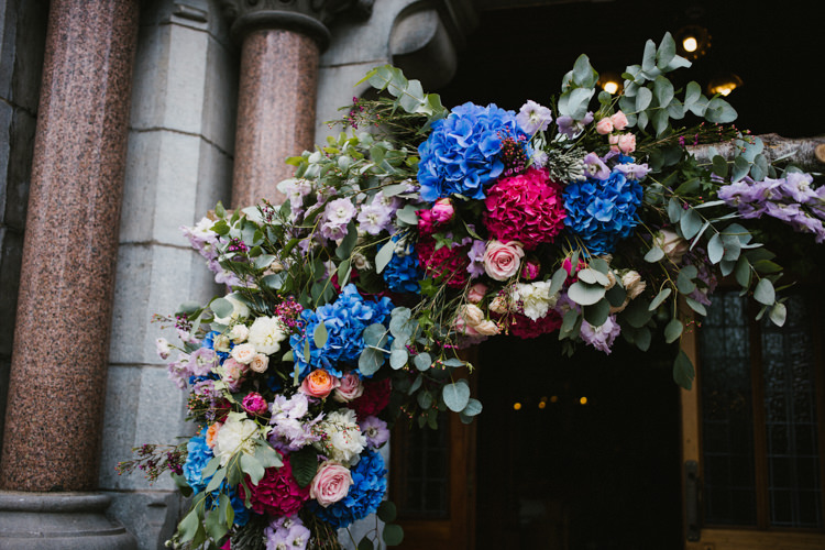 Flowers Pink Blue Hydrangea Rose Eucalyptus Arch Church Branch Backrop Larchfield Estate Wedding Honey and the Moon Photography