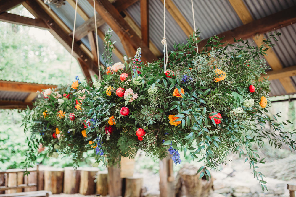 Suspended Hanging Flower Installation Greenery Foliage Colourful Arnos Vale Weddings Ideas When Charlie Met Hannah Photography