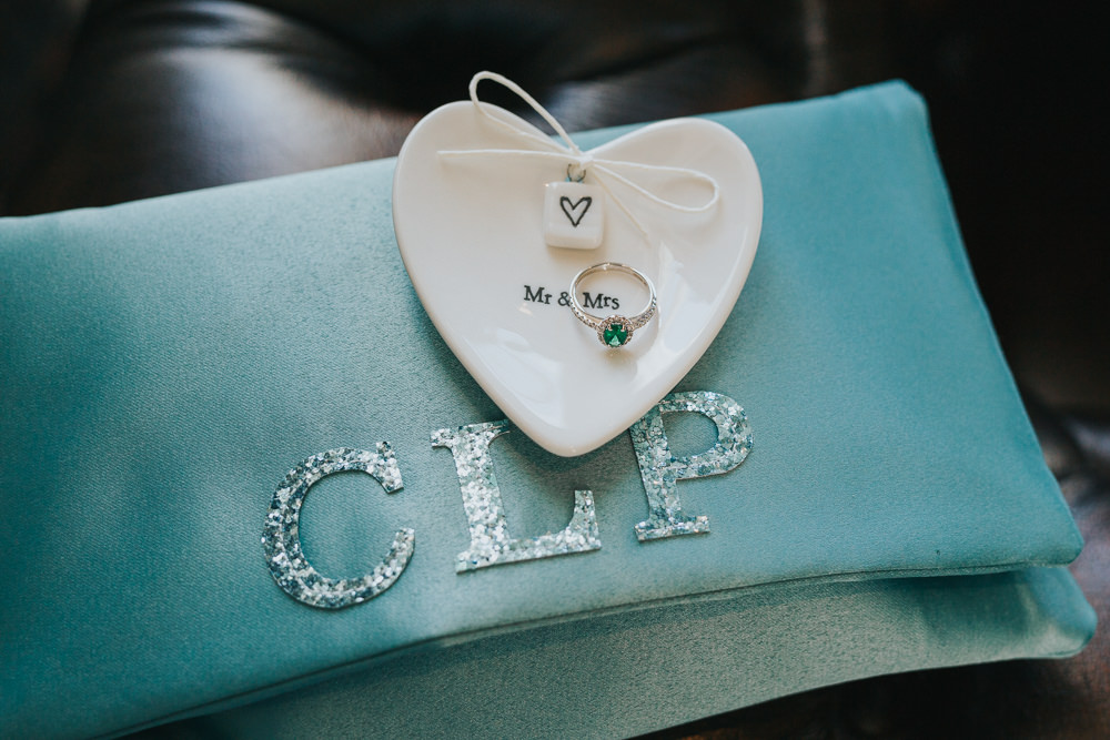 Ring Dish Heart Emerald Engagement Band Colourful Bright Summer Pub Wedding Charlotte Razzell Photography
