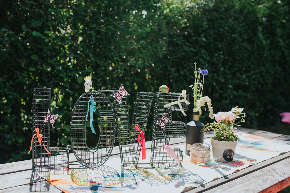 Wire Love Letters Decor Colourful Bright Summer Pub Wedding Charlotte Razzell Photography
