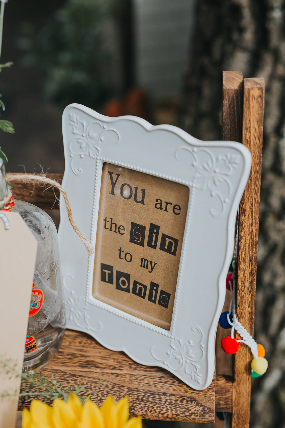 Gin Sign Quote Colourful Bright Summer Pub Wedding Charlotte Razzell Photography