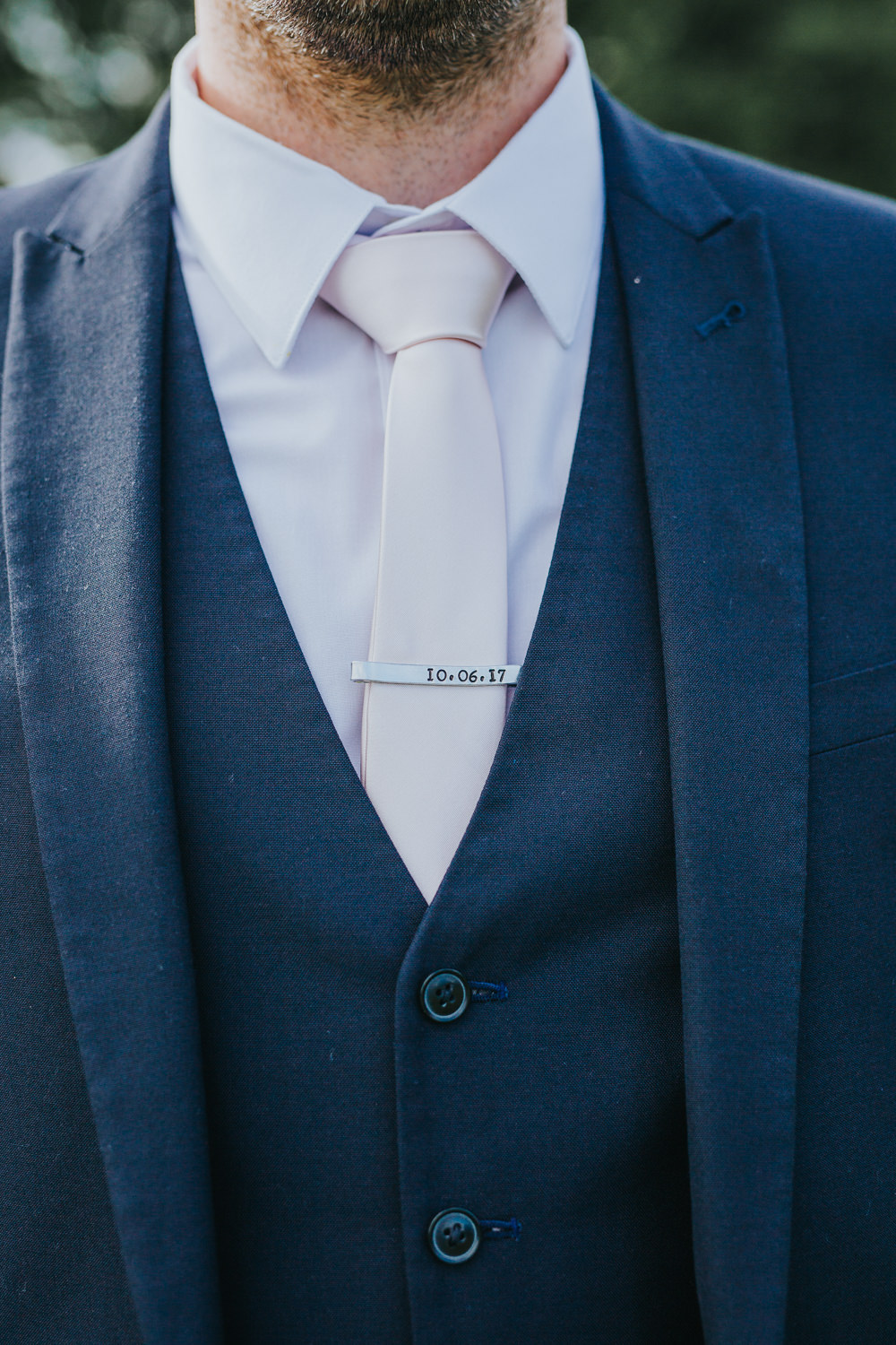 Groom Navy Suit White Tie Pin Personalised Colourful Bright Summer Pub Wedding Charlotte Razzell Photography