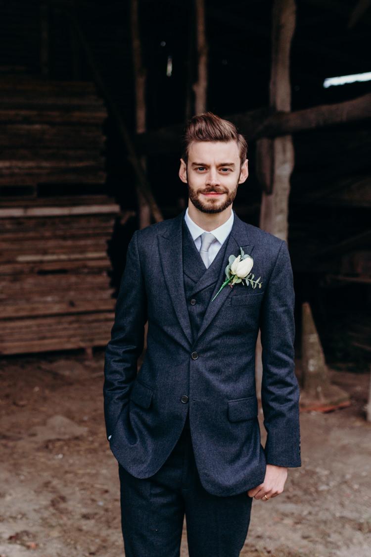 Groom Black Blue Suit Grey Tie Waistcoat Creative Hertfordshire Barn Boho DIY Wedding Beard and Mane Photography